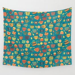 Vintage tea party - tea cups and sweets - teal Wall Tapestry