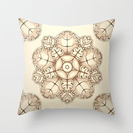 Beige elegant ornament fretwork Baroque style Throw Pillow