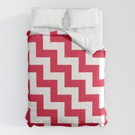White and Crimson Red Steps LTR Comforters