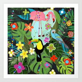 Parrots, Toucan and Flamingo Tropical Birds Tropical Forest Pattern Art Print