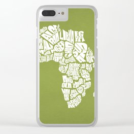 Africa Word Map - Olive and White Clear iPhone Case
