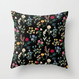 Spring Botanicals Black Throw Pillow