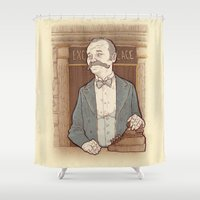 wes anderson Shower Curtains featuring Monsieur Ivan or Bill Murray on The Grand Budapest Hotel from Wes Anderson by suPmön