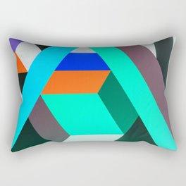 Teal Geometric Artwork - Abstract Pattern Rectangular Pillow