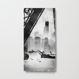 Sears Tower (from the Kinzie Bridge, Chicago, IL) Metal Print
