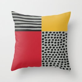 Earth Tone, Red Orange Pattern, Scandinavian Design Throw Pillow