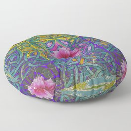 LILAC PURPLE YELLOW CELTIC PINK FLORAL ART PATTERN Floor Pillow