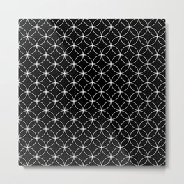 Moroccan linear pattern on black Metal Print