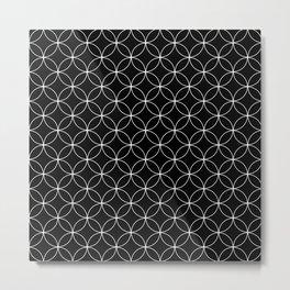 Moroccan linear pattern on black Metal Print