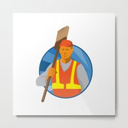 janitor cleaner sweeper with broom retro Metal Print