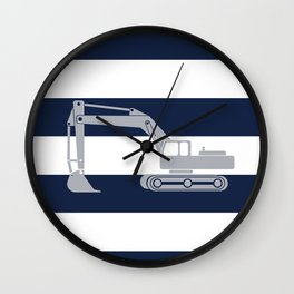 Gray excavator with navy stripes Wall Clock