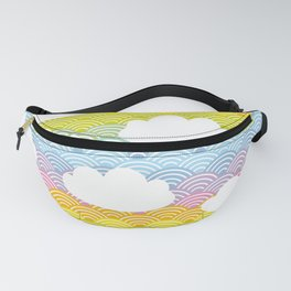 Kawaii white clouds and rainbow sky Fanny Pack