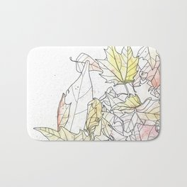 Autumn Leaves Watercolor Bath Mat