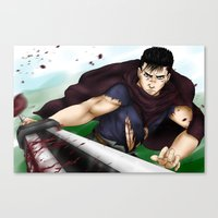 berserk Canvas Prints featuring Guts - Berserk Fan Art by River Kai