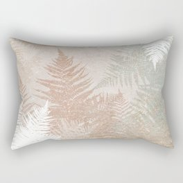 Fern Snowflakes - Golden, bronze & Sage Rectangular Pillow