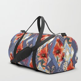 "A series of ""Favorite patchwork"". Lilies with blue fabrics. Duffle Bag"