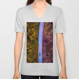 the purple road in the forest Unisex V-Neck