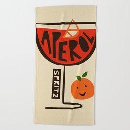 Aperol Spritz Cocktail Print Beach Towel
