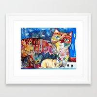 pugs Framed Art Prints featuring PUGS by oxana zaika