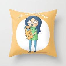 Well...I do love pugs Throw Pillow