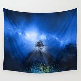 blue night landscape Wall Tapestry
