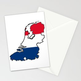 Netherlands Map with Dutch Flag Stationery Cards