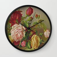 vintage flowers Wall Clocks featuring Vintage Flowers by Lucia