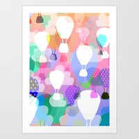 hot air balloons Art Prints featuring Hot air balloons by Ingrid Castile
