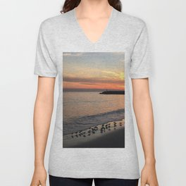 Beach sunset with birds Unisex V-Neck