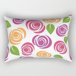 Flowers, Leaves, Blossoms - Orange Pink Purple Rectangular Pillow