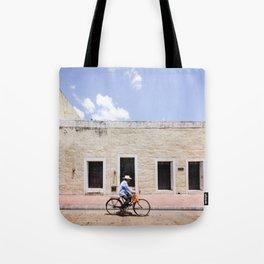 Riding a Bike in Merida, Mexico Tote Bag