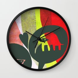Love between elephants and fishes. Wall Clock