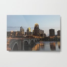 Minneapolis Skyline - Central Ave View Metal Print