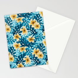 Tropical Hibiscus Pattern (white) Stationery Cards