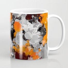 Orange and Grey Paint Splatter Coffee Mug