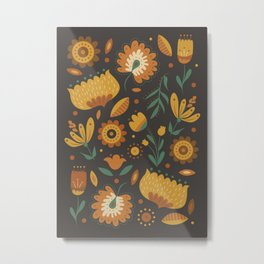 Autumn Folk Art Florals Metal Print