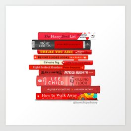 Red Book Stack Art Print
