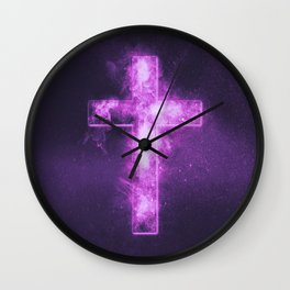 Christian cross symbol. Abstract night sky background. Wall Clock
