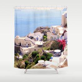 Santorini Charm Shower Curtain