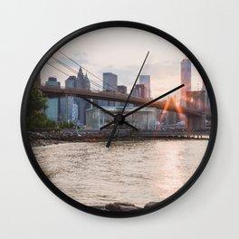 Sunset over Brooklyn Bridge Wall Clock