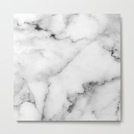Classic white and gray marble Metal Print
