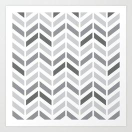 Chevron Grey Small Pattern Art Print