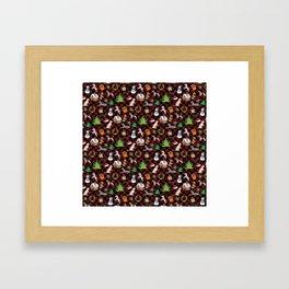 Christmas Dogs and Christmas Trees on Buffalo Plaid Framed Art Print