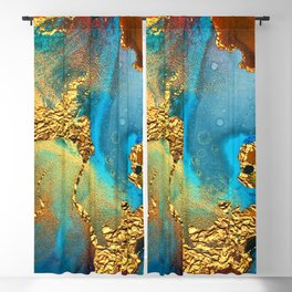 Abstract Glitter Gold and Blue Aqua Painting Blackout Curtain