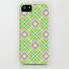 Green Neon Plaid iPhone Case