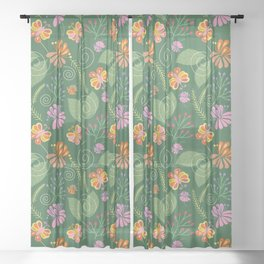 Spring Flowers and Butterflies Sheer Curtain