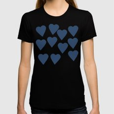 Hearts Navy Black SMALL Womens Fitted Tee