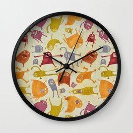 Watercolor Critter Pattern Alpha Wall Clock