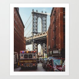 Gold hour rush in Brooklyn Art Print