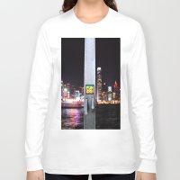 hong kong Long Sleeve T-shirts featuring Hong Kong  by Chernyshova Daryna